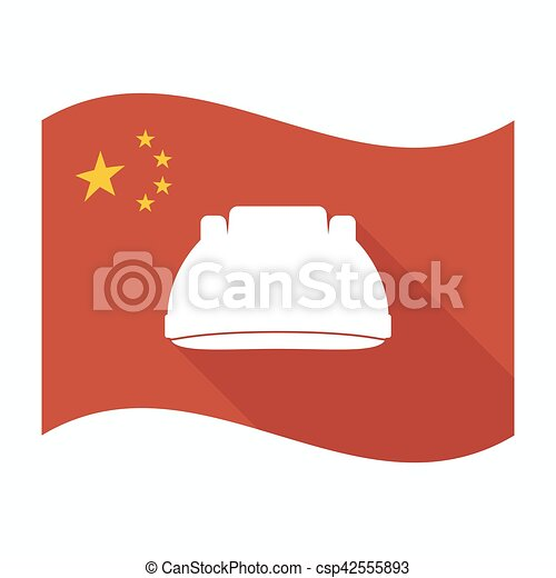 Isolated China flag with a work helmet - csp42555893