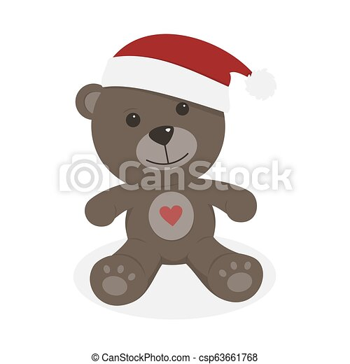 Isolated christmas teddy bear on a white background - csp63661768