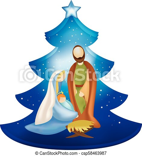 Isolated christmas tree nativity scene with joseph and ...