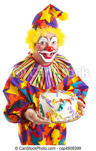 Admirable Isolated Clown With Birthday Cake Cheerful Clown Offering A Funny Birthday Cards Online Inifodamsfinfo