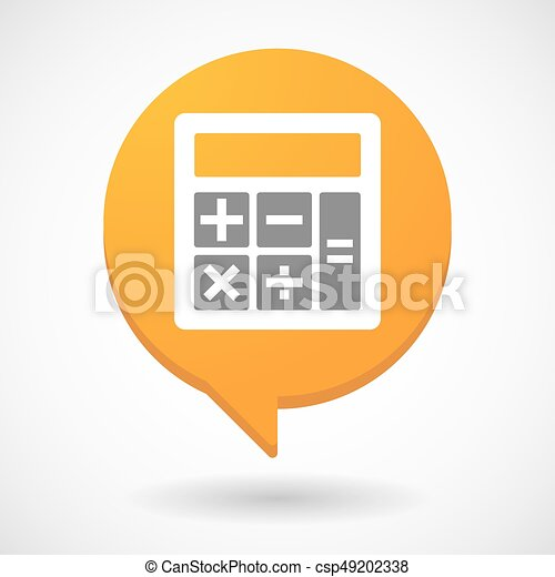 isolated comic balloon with a calculator illustration of an