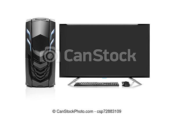 Computadora de escritorio aislada. - csp72883109