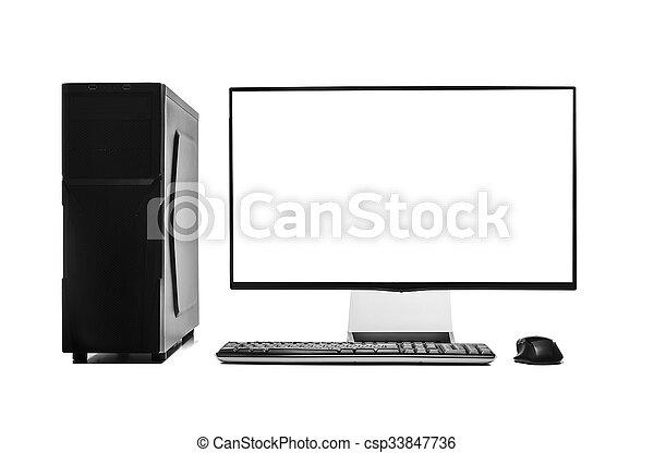 Computadora de escritorio aislada. - csp33847736