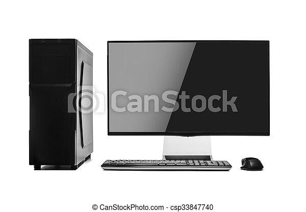 Computadora de escritorio aislada. - csp33847740