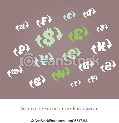 Isolated Currency Exchange Signs Vector Set International Clip