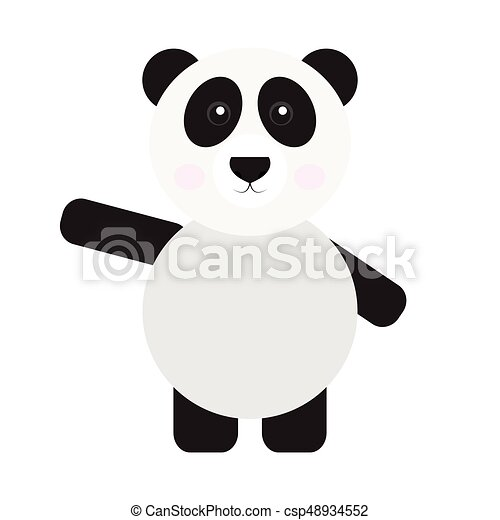 Isolated Cute Panda On A White Background Vector Clipart