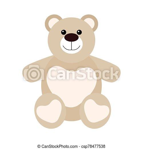Isolated cute teddy bear - csp78477538
