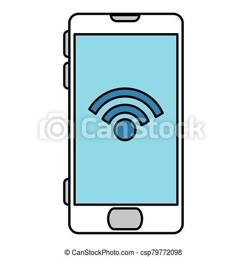 Isolated digital smartphone iwth wifi icon vector design - csp79772098