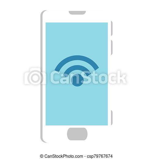 Isolated digital smartphone iwth wifi icon vector design - csp79767674