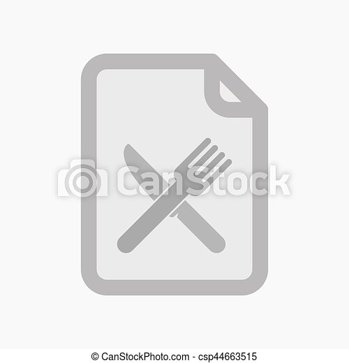 Isolated document with a knife and a fork - csp44663515