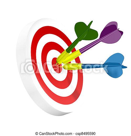 (isolated), drei, dartboard, zentrieren, dartpfeile - csp8495590
