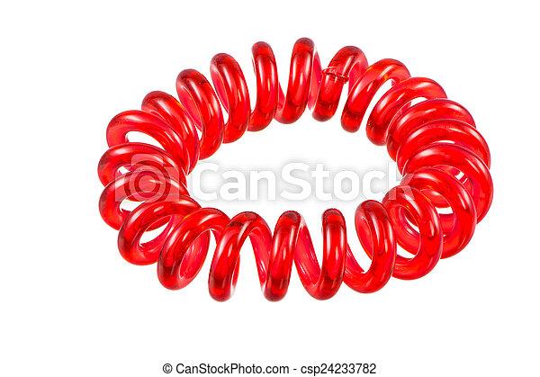 Isolated Elastic Red Spiral Hari Tie - csp24233782