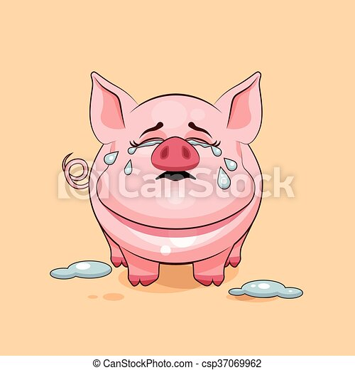 vector stock illustration isolated emoji character cartoon pig