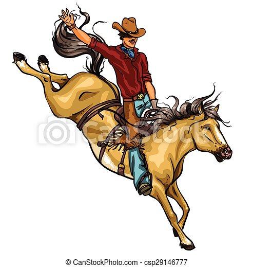 Rodeo Cowboy montando un caballo aislado. - csp29146777