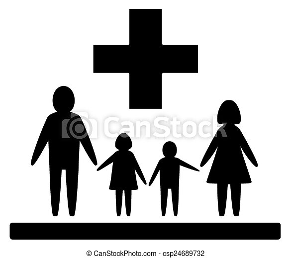 Isolated Family Medical Symbol Black Isolated Medical Vectors