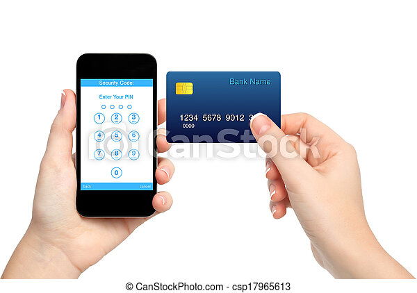 isolated female hands holding phone and credit card and enter a PIN code  - csp17965613