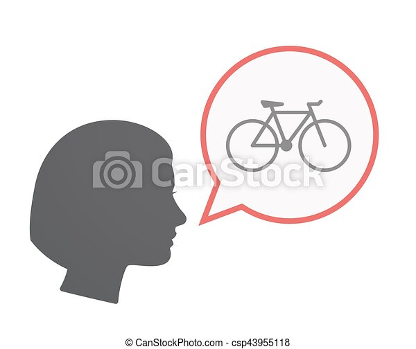Isolated female head with a bicycle - csp43955118