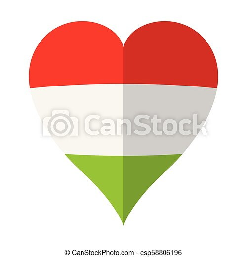 Isolated flag of Hungary on a heart shape - csp58806196