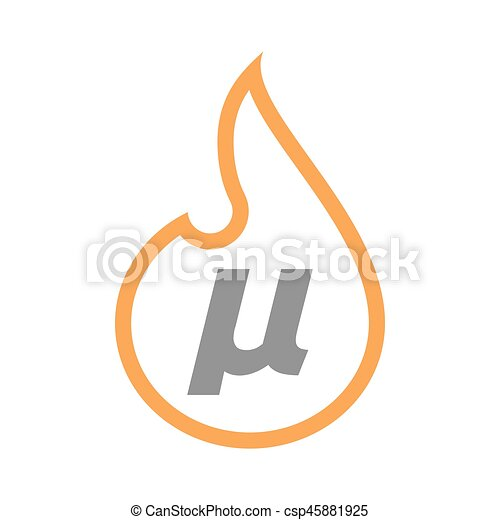 Isolated Flame With A Micro Sign Mu Greek Letter Illustration Of