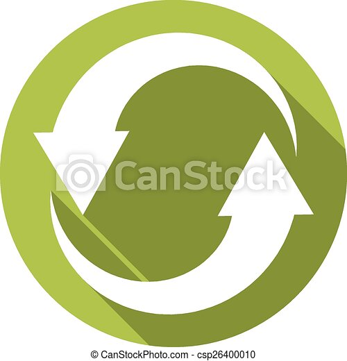 Isolated flat button (icon) for recycle in green color - csp26400010