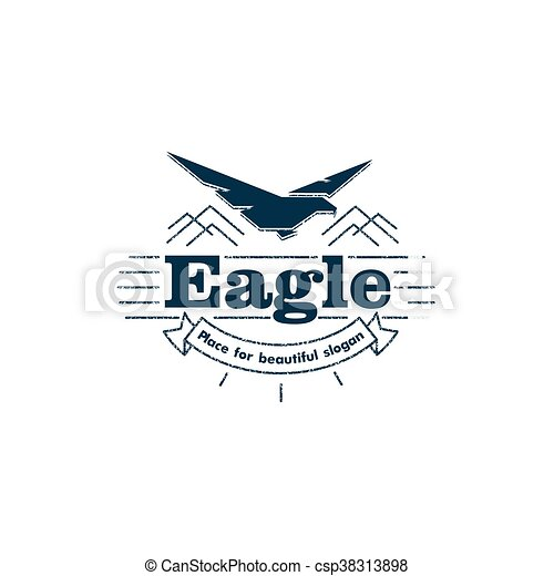 Isolated Flying Eagle Silhouette Vector Logo Bird With Spead Wings