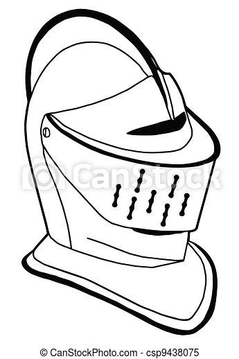 Isolated Full Face 16th Century War Helmet - csp9438075