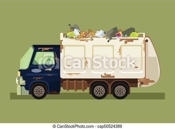 Isolated garbage truck. Vector flat cartoon illustration - csp50524389