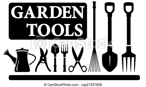 Set Black Isolated Gardening Tools For Landscaping Design Vector