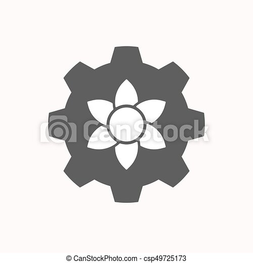 Isolated Gear With A Lotus Flower Illustration Of A Isolated Gear