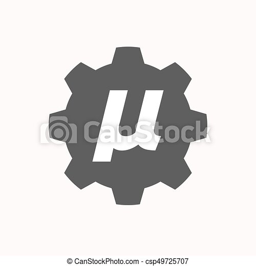 Isolated Gear With A Micro Sign Mu Greek Letter Illustration Of A