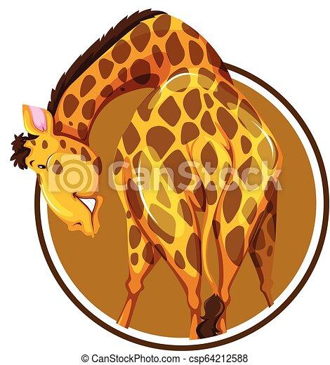 Isolated giraffe sticker on white background - csp64212588