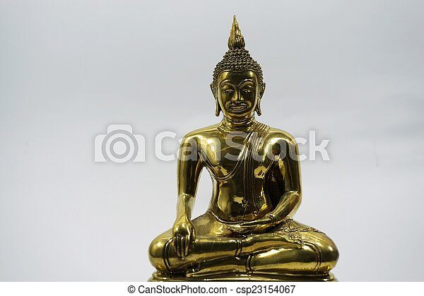 isolated golden image of Buddha 2 - csp23154067