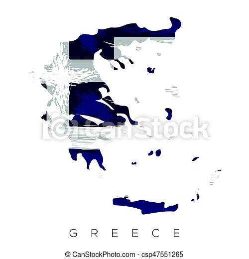 Isolated greek map with its flag, vector illustration.