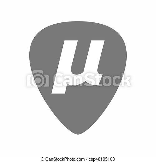 Isolated Guitar Plectrum With A Micro Sign Mu Greek Letter