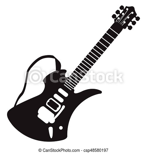 isolated guitar silhouette isolated silhouette of an electric