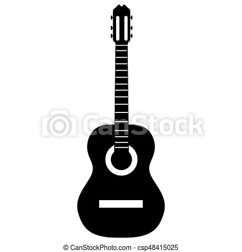 isolated guitar silhouette isolated silhouette of a guitar vector