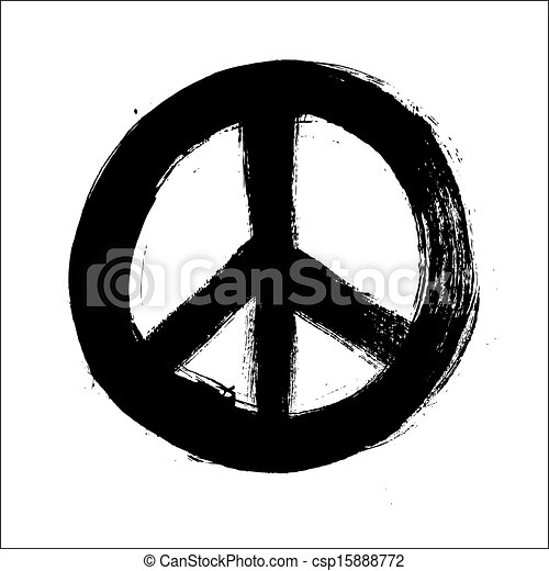 Isolated hand drawn peace symbol brush style composition. EPS10 Vector file organized in layers for easy editing. - csp15888772