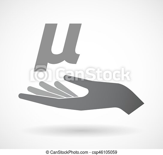 Isolated Hand With A Micro Sign Mu Greek Letter Illustration Of An