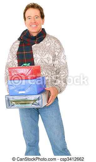 Isolated Happy Senior Caucasian Man Carry Presents - csp3412662