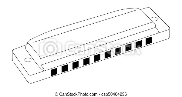 isolated harmonica outline isolated outline of a harmonica vector rh canstockphoto com Harmonica Player Clip Art Harmonica Player Clip Art