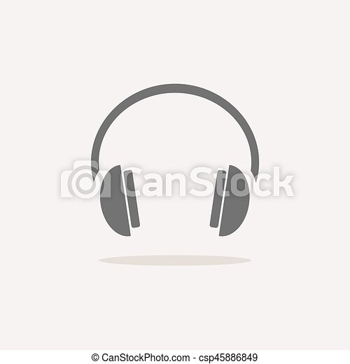 Isolated headphones icon on a white background with shade - csp45886849
