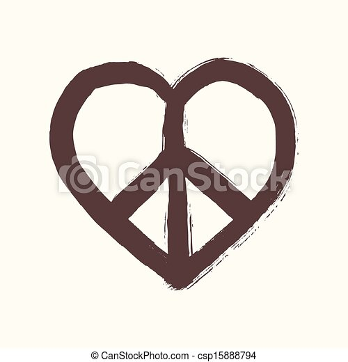 Isolated heart shape peace symbol brush style composition. EPS10 Vector file organized in layers for easy editing. - csp15888794