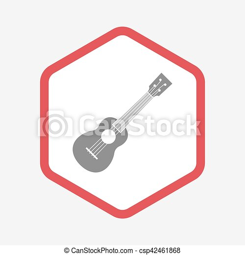isolated hexagon with an ukulele illustration of an clip art rh canstockphoto com hexagon clipart png clipart hexagon shape