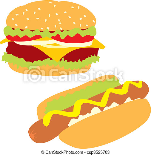 isolated hot-dog and hamburger - csp3525703