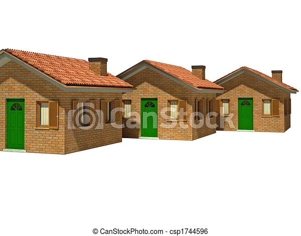 isolated houses 3d - csp1744596