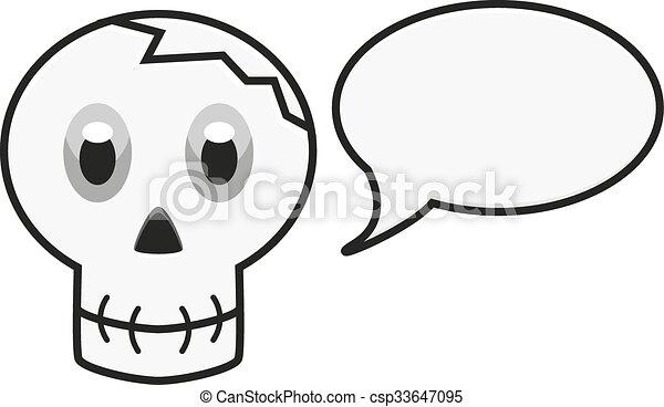 Isolated illustration of skull with speech bubble - csp33647095