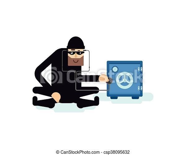 isolated illustration thief hacks safe