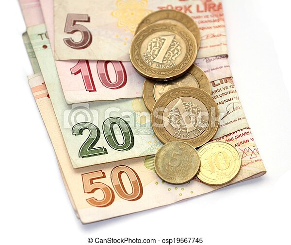 Isolated Image Of Turkish Lira Coins And Folded Notes Csp