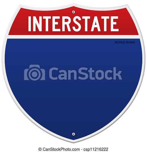 Isolated Interstate Sign - csp11216222