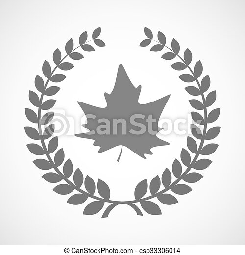 Isolated laurel wreath icon with an autumn leaf tree - csp33306014